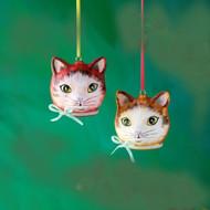 Natalie Lete Glass Cat Head Ornament (2 Colors) (CG0181)