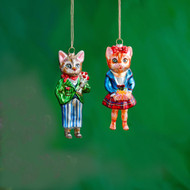 Natalie Lete Glass Dressed Cat Ornaments (2 Styles)(CG0338)