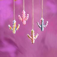 Marbleized Glass  Cactus Ornament (4 Colors) (EL0355)