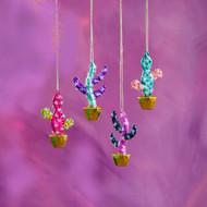 Glass Cactus Pot Ornament (4 Colors) (EL0384)