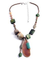 Treska Strata Short Beaded Pendant Necklace (STR1337)
