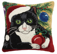 Cat with Christmas Ornament Hook Pillow (31SJM8345C16SQ)