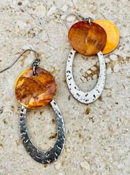 Treska Gallery Texas Orange Shell Disc & Silver Loop Earrings (TG91101)