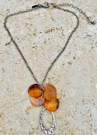 Treska Gallery Texas Orange Shell Discs & Silver Loop Necklace (TG91347)