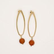 Treska Gallery Loop & Faceted Texas Orange Stone Earrings (TG91091)