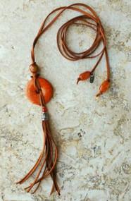 Treska Cord Necklace with Texas Orange Stone Disk (SP20217)