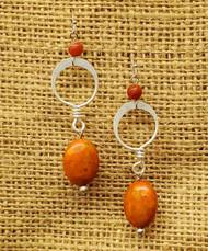 Treska Finds Linked Rings & Texas Orange Crushed Stone Bead Earrings (TRFF2101)