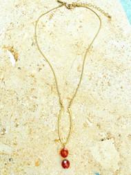 Treska Gallery Loop & Texas Orange Bead Necklace (TG91337)