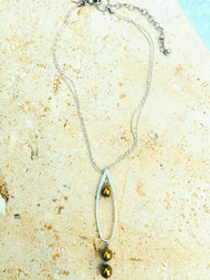 Treska Gallery Plated Stone & Large Oval Necklace (TG91257)