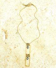 Treska Gallery Plated Stone & Rectangles Necklace (TG91287)