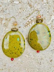 Treska Tajine Simple Drop Earrings (TAJ24051) (GREEN)