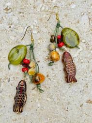Treska Tajine Long Bead & Cord Cluster Earrings (TAJ24061) (GREEN/FISH)