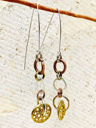 Treska Gallery Linear Multi-Metal Circle Link Earrings (TG91571) (GOLD/SILVER/BRONZE)