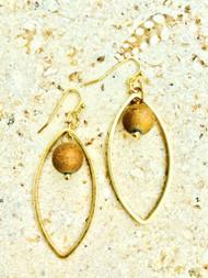 Treska Gallery Plated Stone & Almond Shaped Link Earrings (TG91051) (GLD)