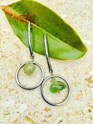 Treska Gallery Agate & Circle Post Earrings (TG91191) (GRN/SLV)
