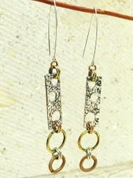 Treska Gallery Linear Circle Rectangle Earrings (TG91551) (SLV/GLD/BRNZ)
