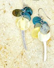 Treska Gallery Shell & Metal Spear Earrings (TG91161)(BLU/YEL/SLV)