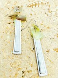 Treska Gallery Shell & Retangle Plank Earrings (TG91171) (SLV)