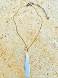 Treska Gallery Double Trapezoid Pendant Necklace (TG91497) (GLD/AQUA)