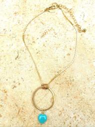 Treska Gallery Ceramic Heart & Metal Ring Necklace (TG91407) (GLD/TUR)