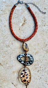 Treska Vintage Finds Corded Leather Braided Animal Print Beaded Pendant Necklace (VFTR1287)