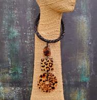 Treska Vintage Animal Print Pedant Necklace on Braded Leather Cord(VFTR1187)
