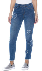 French Dressing Fringed Heart Detail Pull-On Cigarette Jeans (2195669)