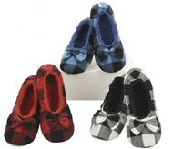 Snoozies Large Buffalo Plaid Ballerina Slippers (3 Colors) (BIGPLAIDBAL)