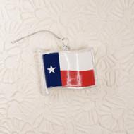 Texas Flag Shaped Glitter Glass Ornament (26910)