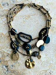 Treska Midtown Black/Gold Multi-Strand Necklace (MID82107)