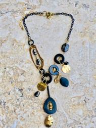 Treska Midtown Black/Gold Y Short Pendant Necklace (MID82087)