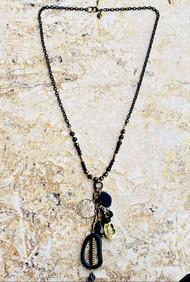 Treska Midtown Black/Gold Long Pendant Necklace (MID82117)