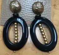 Treska Midtown Black/Gold Clip Drop Top Oval Earrings (MID82011)