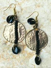 Treska Midtown Black/Gold Disc Drop Earrings (MID82041)