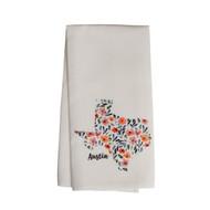 Floral Filled Texas ATX Tea Towel (LB STE0049TT) SUE PATRICK EXCLUSIVE