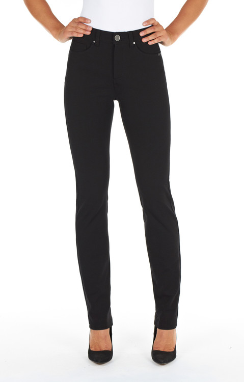 Olivia  Fit   •Designed for women with balanced proportions from waist to hip   •Sits just below the navel at natural waist    •Traditional one button jean with front zipper    •Belt loops    •Comfort wonderwaist waistband    •2 front pockets with a watch pocket    •2 back patch pockets with embroidery detail    •New Ponte di Roma Fabric- 69% cotton 27% nylon 4% spandex    •Soft hand knit fabrication