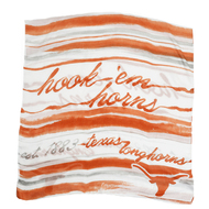 "Sheer scarf in water color wave stripes in burnt orange, white and grey with ""hook'em horns,"" ""est. 1883"" and ""Texas Longhorns"" printed into the mix"
