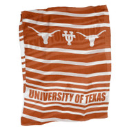 "Sheer Scarf in Burnt Orange and White Stripes with ""University of Texas"" and Texas Longhorns printed every 4 or 5 stripes"