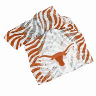 Sheer Scarf in Burnt Orange, White and Grey Animal Stripe with Single Texas Longhorn