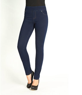 """The slim mid-rise fits like a jegging looks like a jean.   Wide waistband, no zippers and a smooth front. Form fitting through hip and thighs Slim fit through knees and calves Flattens the tummy and lifts the behind  Faux front pockets/Two back pockets  Front rise:9 3/4""""  Inseam: 32""""  Leg opening circumference:11 3/4"""" 65% Cotton, 35% Lycra"""