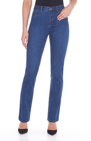 The Suzanne slim leg jean features five pockets with zipper front and one button Traditional belt loops and embroidered detail back pockets This natural fit regular rise features a slim leg The gently curved shape follows the body's contours/waistband sits slightly below the body's natural waist Tailored hips and slimmer thighs create a long lean look while ensuring maximum comfort 33 inch inseam  Middle weight Fabric #250 supreme 9 oz denim  76% cotton 22% polyester 2% spandex   Machine Wash