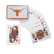 Playing Cards with Texas Longhorn Logo Against a Steel Toolbox Background