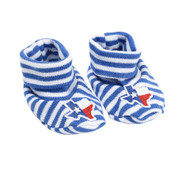 Newborn booties Feature All-Over Blue and White Stripes with a State of Texas Shaped Flag on the Top