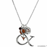 Silver & Burnt Orange Multi-Charm Necklace with Multiple Charms Including the Longhorn Logo
