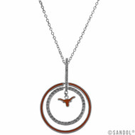 Necklace Featuring Burnt Orange and Rhinestone Hoops with a Longhorn Logo Drop Center