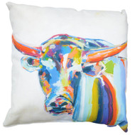 Texas Longhorn Square Art Pillow by Melissa Lyons in Vibrant Colors on White