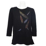 3/4 Sleeve, Round Neck Tee in Midnight with Multi-Colored Feathers Down the Front