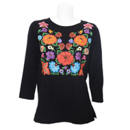 3/4 Sleeve, Round Neck Tee in Midnight with Vivid Multi-Color Floral Front