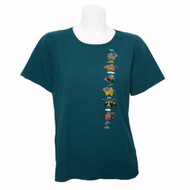 Deep Teal Tee with Short Sleeves, Round Neck and an Animal Fetish Pole Print Down the Left Side Front