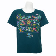 Deep Teal, Short Sleeve, Round Neck Tee with a Myriad of Multi-Color Hummingbirds & Flowers on the Front